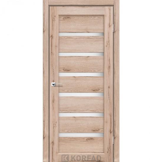 Дверь Porto PR-01 со стеклом сатин Дуб тобакко