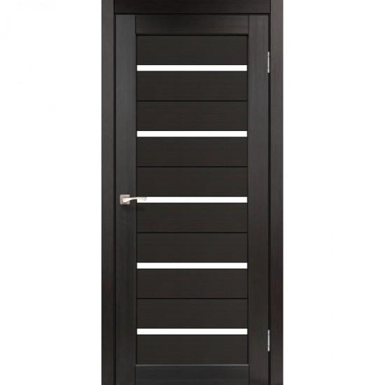 Дверь Porto PR-02 с черным стеклом Венге
