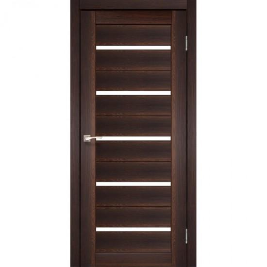 Дверь Porto PR-02 с черным стеклом Орех