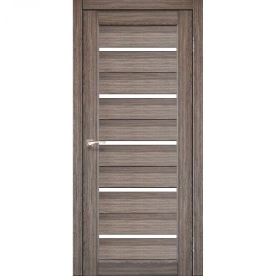 Дверь Porto PR-02 с черным стеклом Дуб грей
