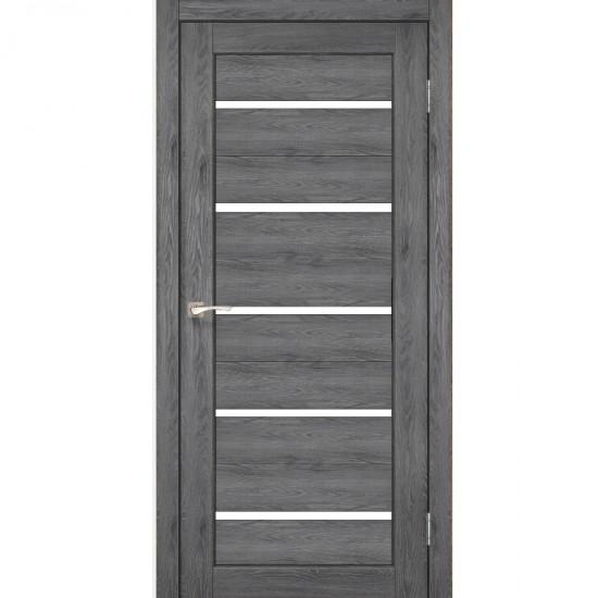 Дверь Porto PR-02 с черным стеклом Дуб марсала