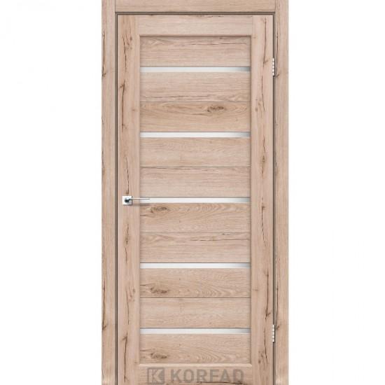 Дверь Porto PR-02 со стеклом сатин Дуб тобакко