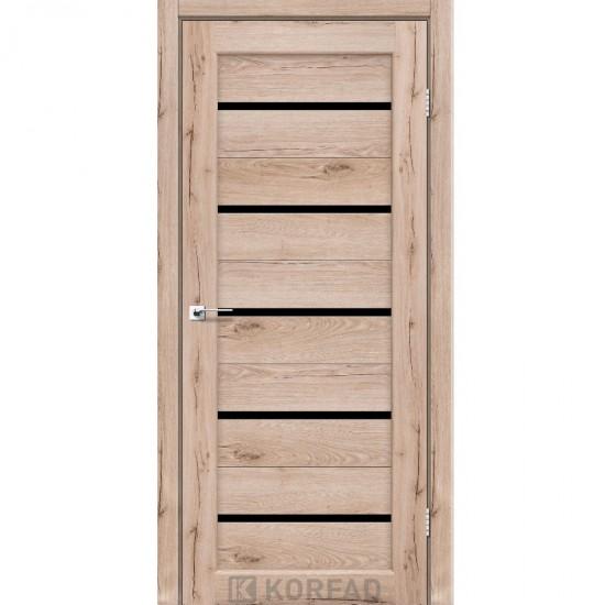 Дверь Porto PR-02 с черным стеклом Дуб тобакко