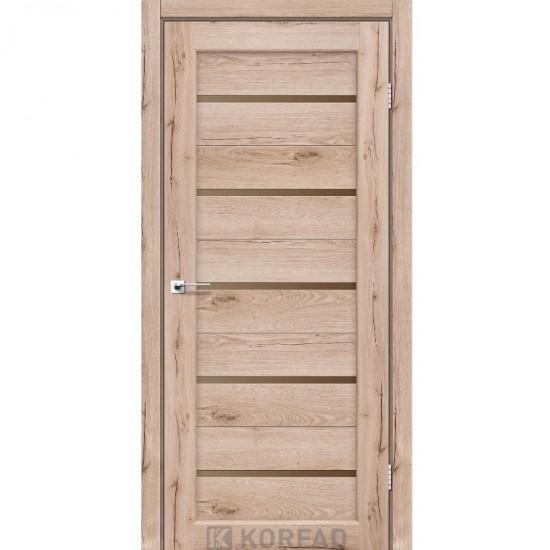 Дверь Porto PR-02 со стеклом бронза Дуб тобакко
