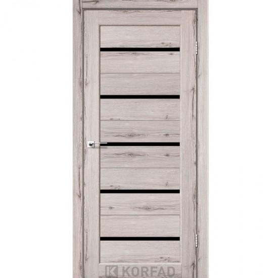 Дверь Porto PR-02 с черным стеклом Дуб нордик