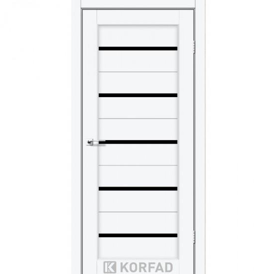 Дверь Porto PR-02 с черным стеклом Белый перламутр