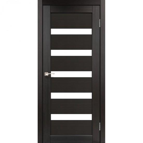 Дверь Porto PR-03 с черным стеклом Венге