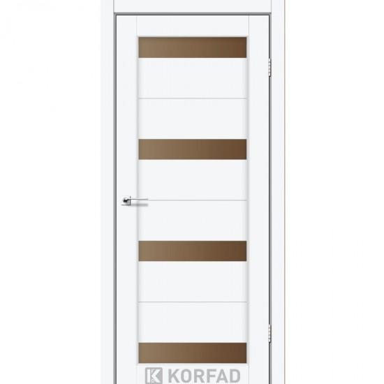 Дверь Porto PR-03 с черным стеклом Ясень белый