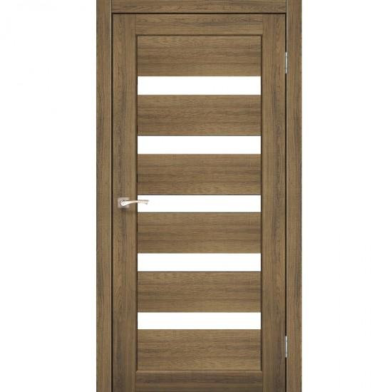 Дверь Porto PR-03 с черным стеклом Дуб браш