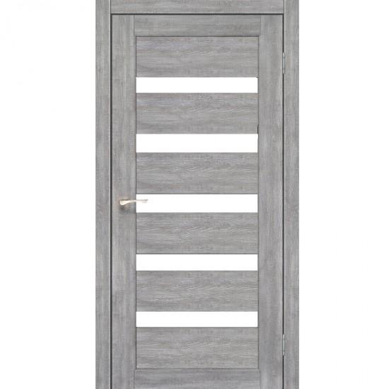 Дверь Porto PR-03 с черным стеклом Эш-вайт