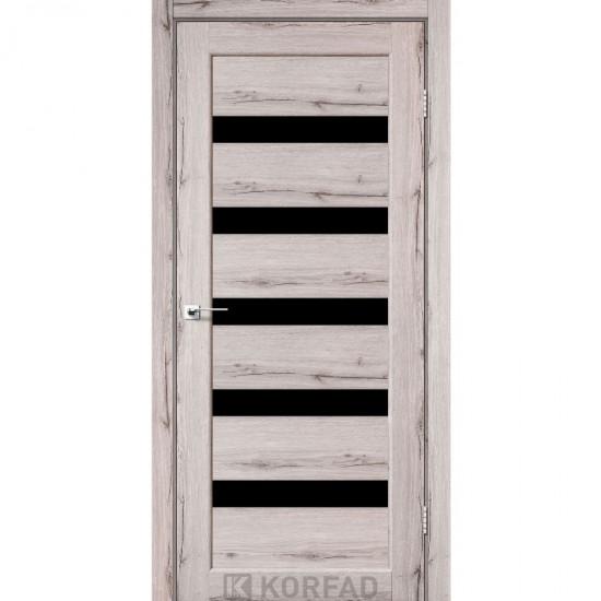 Дверь Porto PR-03 с черным стеклом Дуб нордик