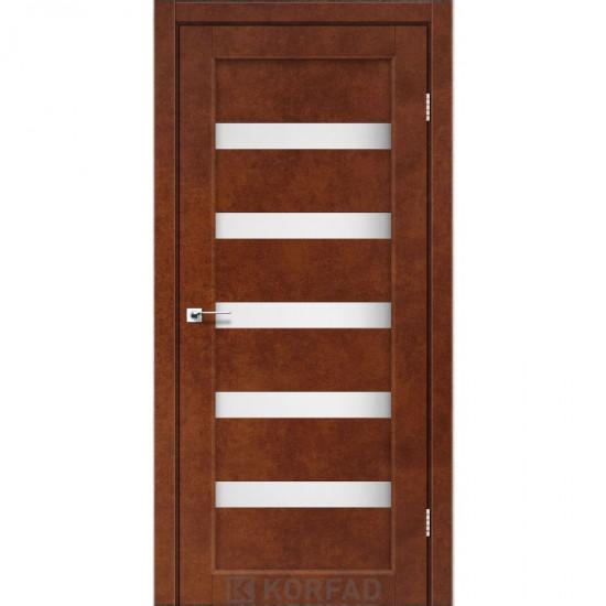 Дверь Porto PR-03 с черным стеклом Сталь кортен