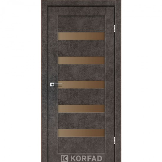 Дверь Porto PR-03 с черным стеклом Лофт бетон