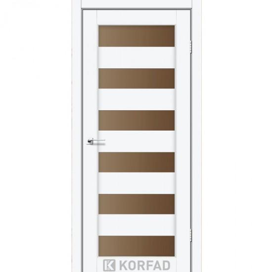 Дверь Porto PR-04 со стеклом бронза Белый перламутр