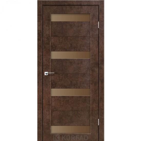 Дверь Porto PR-06 с черным стеклом Орех