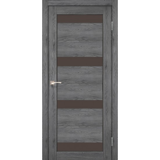 Дверь Porto PR-06 с черным стеклом Дуб марсала