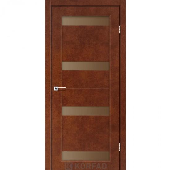 Дверь Porto PR-06 с черным стеклом Дуб тобакко