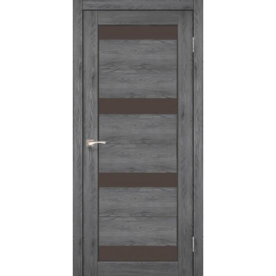 Дверь Porto PR-06 с черным стеклом Лофт бетон