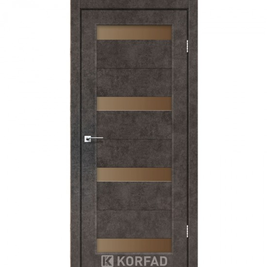 Дверь Porto PR-06 со стеклом бронза Лофт бетон