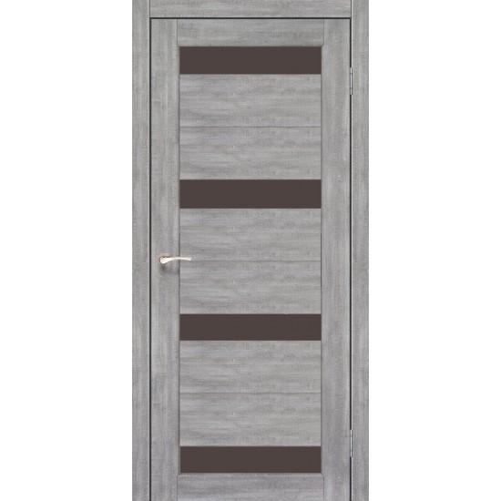 Дверь Porto PR-06 с черным стеклом Лайт бетон