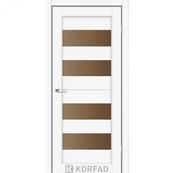 Дверь Porto PR-07 со стеклом бронза Белый перламутр