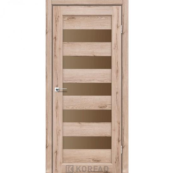 Дверь Porto PR-08 со стеклом сатин Дуб тобакко