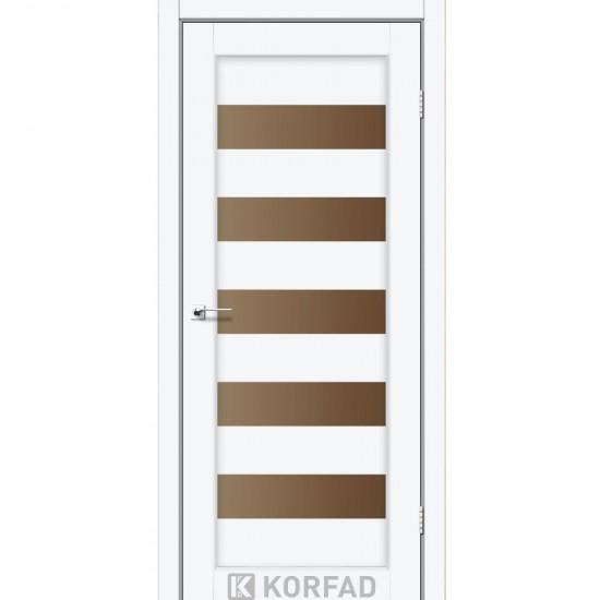 Дверь Porto PR-08 со стеклом бронза Белый перламутр