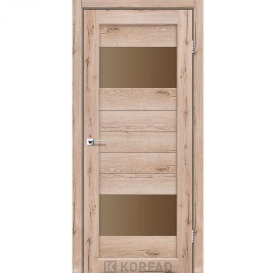Дверь Porto PR-09 со стеклом бронза Дуб тобакко