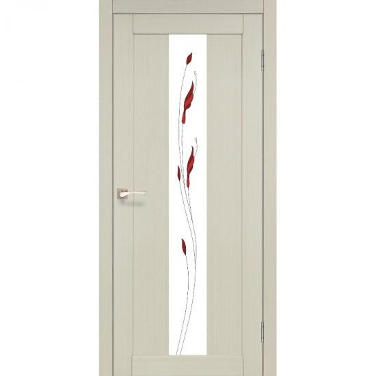 Дверь Porto PR-10 со стеклом сатин и рисунком М1 Дуб беленый