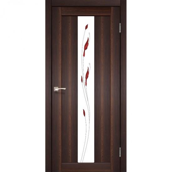 Дверь Porto PR-10 со стеклом сатин и рисунком М1 Орех