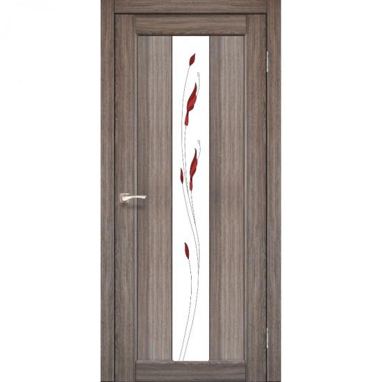 Дверь Porto PR-10 со стеклом сатин и рисунком М1 Дуб грей