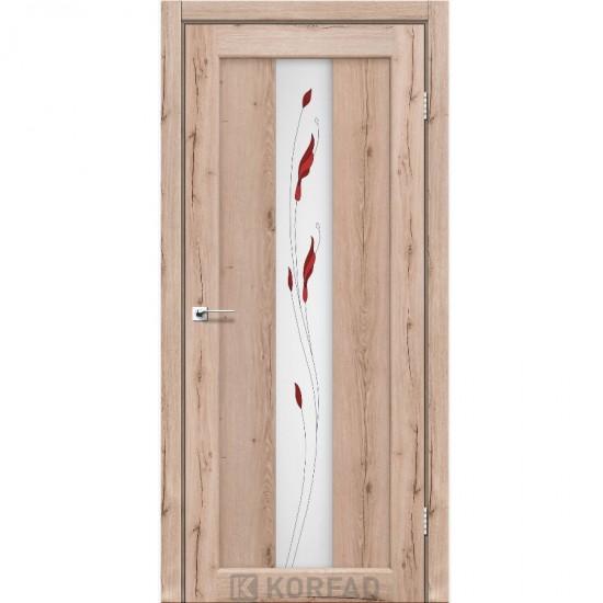 Дверь Porto PR-10 со стеклом сатин и рисунком М1 Дуб тобакко