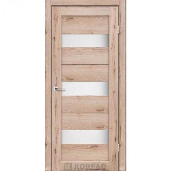 Дверь Porto PR-11 со стеклом сатин Дуб тобакко