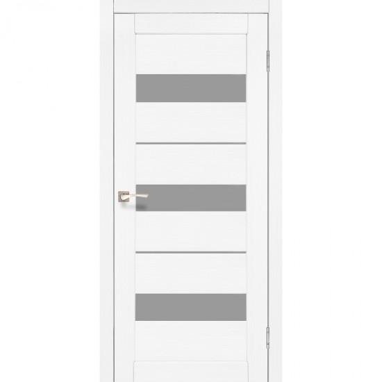 Дверь Porto PR-12 со стеклом сатин Ясень белый