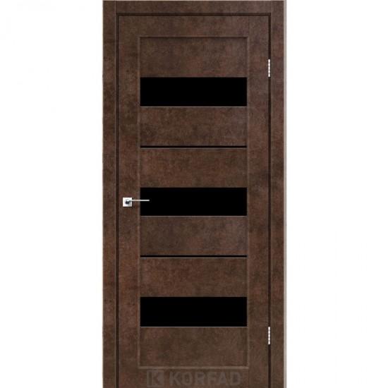 Дверь Porto PR-12 с черным стеклом Дуб браш