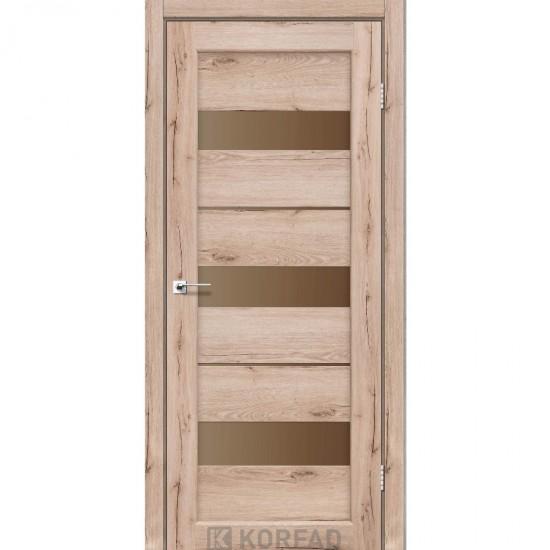 Дверь Porto PR-12 с черным стеклом Дуб тобакко