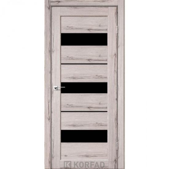 Дверь Porto PR-12 с черным стеклом Дуб нордик
