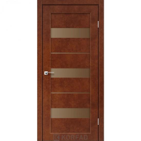 Дверь Porto PR-12 с черным стеклом Сталь кортен
