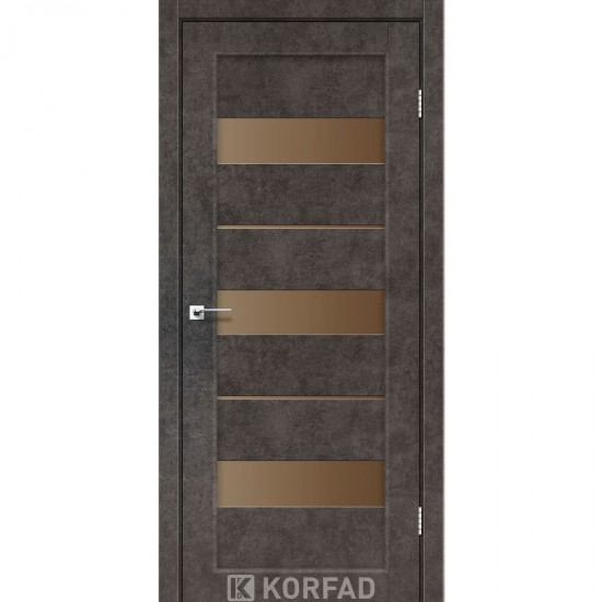 Дверь Porto PR-12 со стеклом бронза Лофт бетон