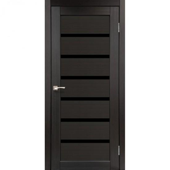 Двери Porto Deluxe PD-01 с черным стеклом Венге