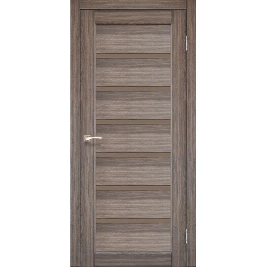 Двери Porto Deluxe PD-01 с черным стеклом Дуб грей