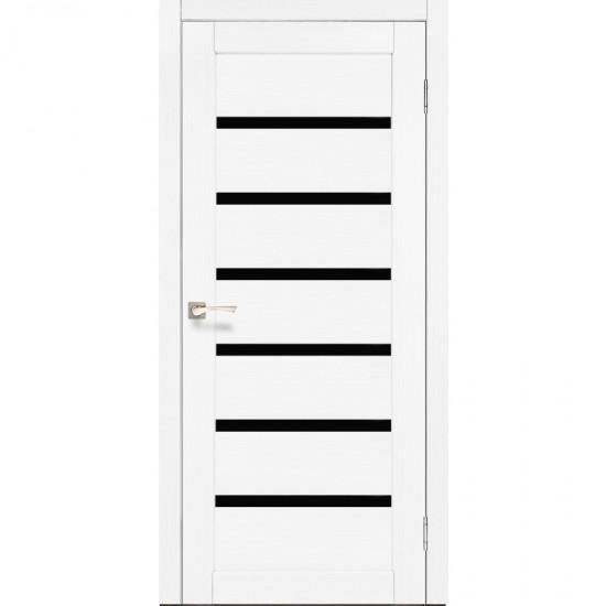 Двери Porto Deluxe PD-01 с черным стеклом Ясень белый