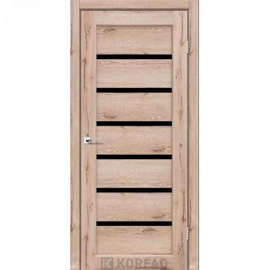 Двери Porto Deluxe PD-01 с черным стеклом Дуб тобакко