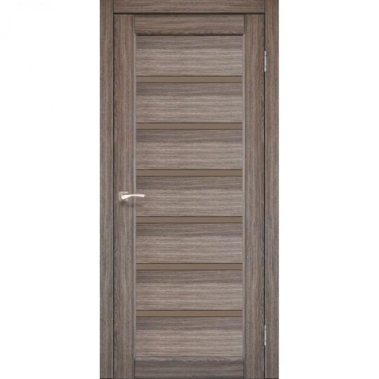 Двери Porto Deluxe PD-01 с черным стеклом Сталь кортен
