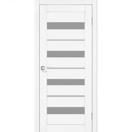 Двери Porto Deluxe PD-02 со стеклом сатин и стеклом алюминий Ясень белый