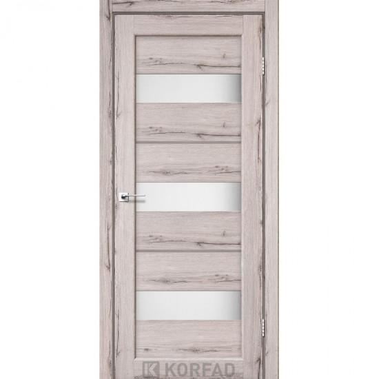 Двери Porto Deluxe PD-12 со стеклом сатин и стеклом алюминий Дуб нордик