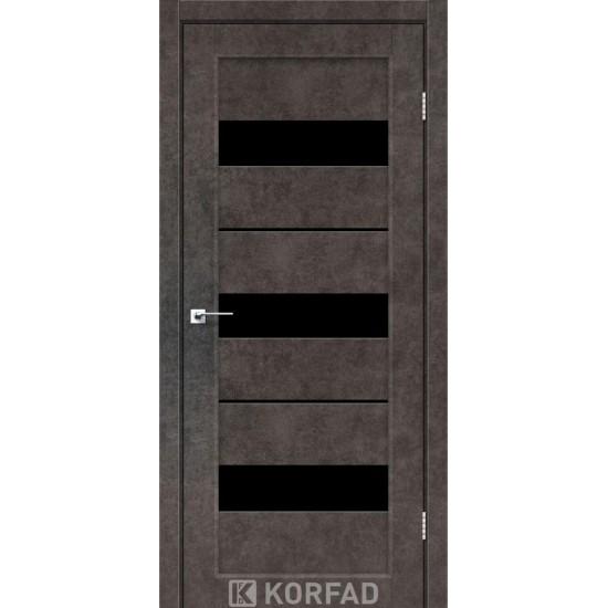 Двери Porto Deluxe PD-12 с черным стеклом и стеклом алюминий Арт бетон