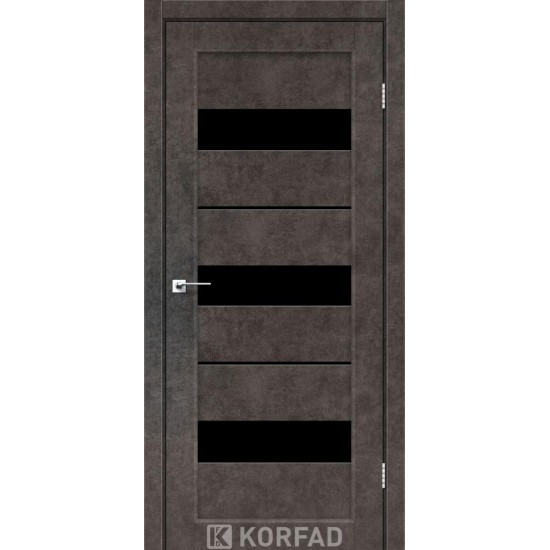 Двери Porto Deluxe PD-12 с черным стеклом и стеклом алюминий Лофт бетон