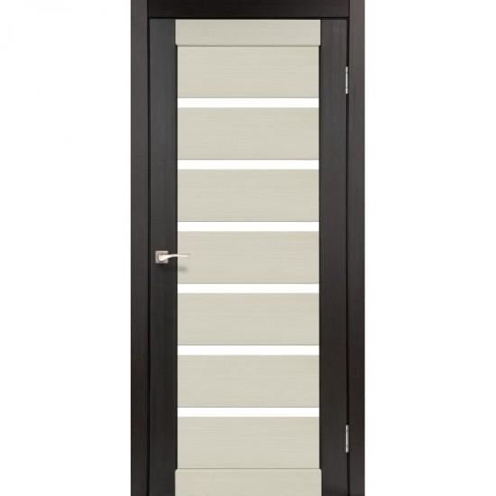 Дверь Porto PC-01 со стеклом сатин комбинированный Дуб беленый-Венге