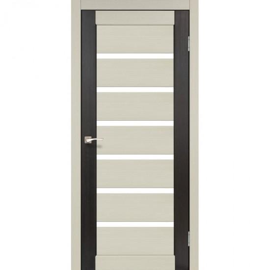 Дверь Porto PC-02 со стеклом сатин комбинированный Дуб беленый-Венге